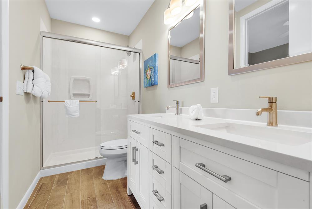 double sinks and walk in shower