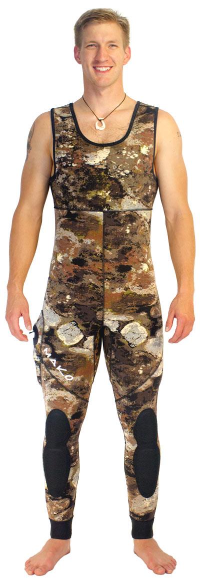 3D reef camo wetsuit - farmer john bottoms