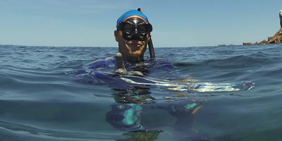 Michael Scaglione with El Bajo Freedive Mask