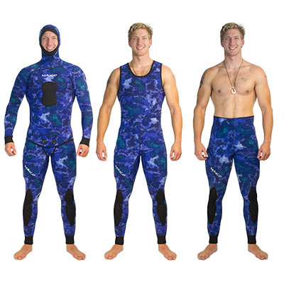 Spearfishing wetsuit ocean blue camo
