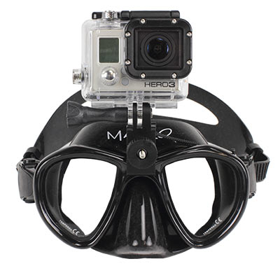 dive mask with gopro mounting clamp