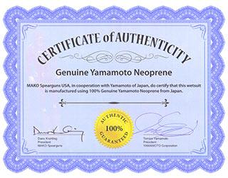 Genuine YAMAMOTO Neoprene Certificate
