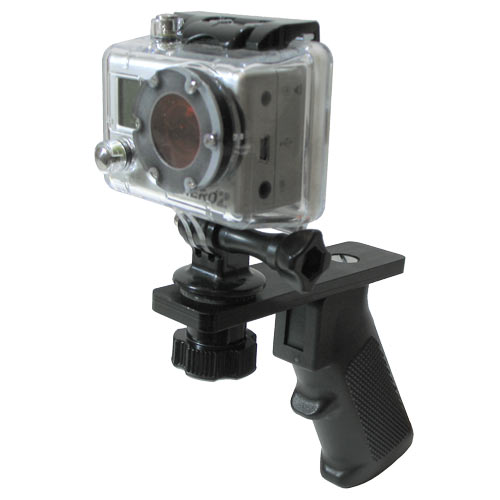 Basic Unit annodized in black. Shown with optional GoPro Tripod Mount
