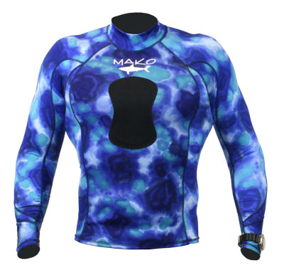 Can be worn without hood as Blue Camo rash guard