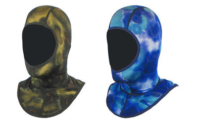 Lycra Hoods available in Blue Camo and Green Camo