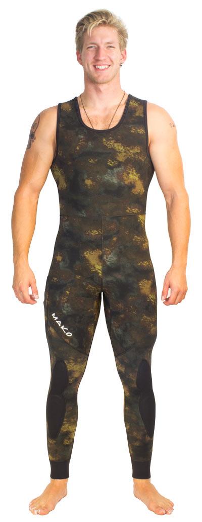 reef camo wetsuit - farmer john bottoms