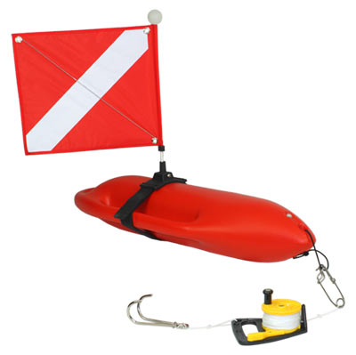 Reef hook with utility reel longline clip and hard float