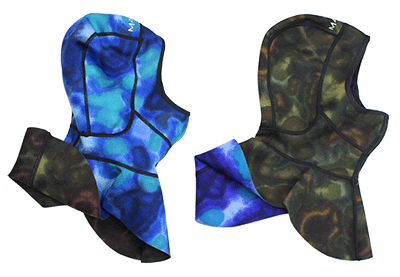 reversible wetsuit hood blue camo and green camo