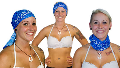 Can be worn many ways including doo rag, head band, and neckerchief