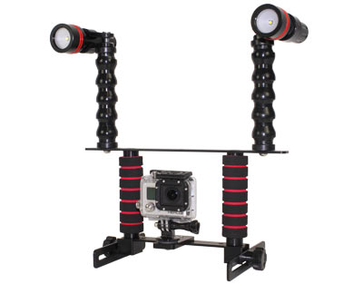 Two Handle Camera Tray Starter Package with Flex Arms and 890 Lumen Lights mounted directly to the flex arms