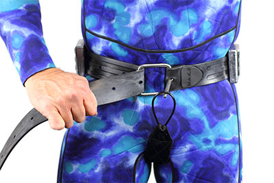 Weight Belt Crotch Strap front view on diver