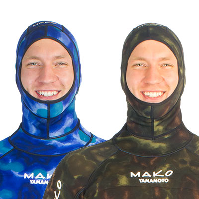 reversible wetsuit hood blue camo and green camo in use
