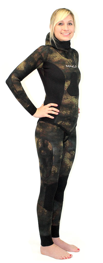 Womens Reef Camo Wetsuit 2 Piece Open Cell Mako Spearguns