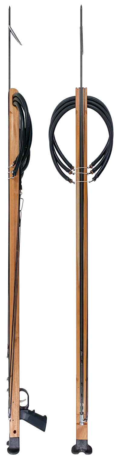 Enclosed track installed in wood spearguns