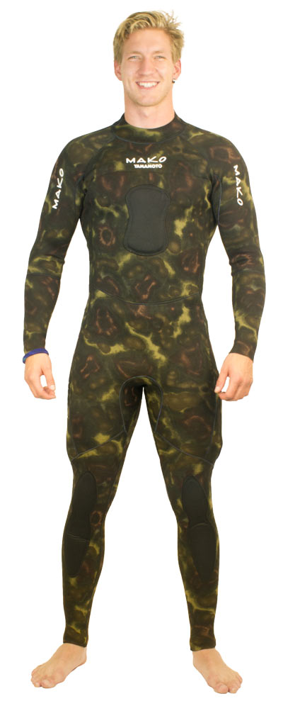 reversible wetsuit blue camo and green camo - showing green camo