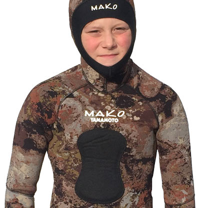 Youth 3D reef camo wetsuit lowered Chest Loading Pad for both Railguns and Hybrids
