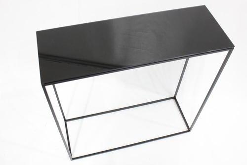 sch nbuch rack konsolentisch 70 x 70 x 25 cm schwarz metall klarglas ebay. Black Bedroom Furniture Sets. Home Design Ideas
