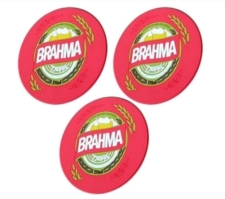 Bolacha Chopp Brahma Emborrachada Com Imã 3 Peças