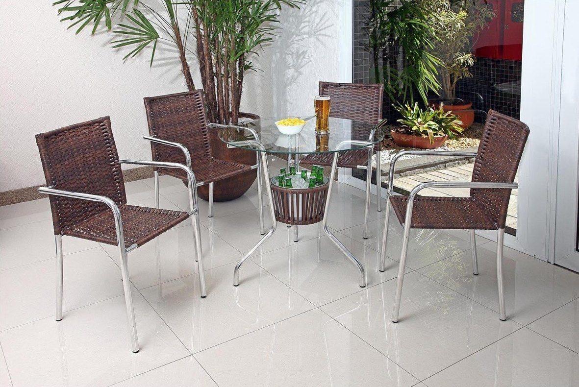 Mesa Com Balde para Bebidas + 4 Cadeiras