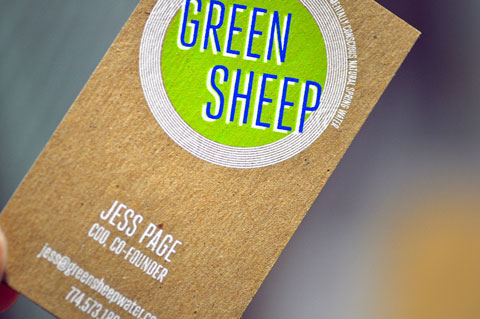 Screen printed business cards on chipboard blog post by mamas sauce green sheep screen printed business card by mamas sauce colourmoves