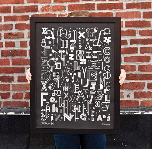 55 Hi's + Skinny Ships: Letters poster (silver)