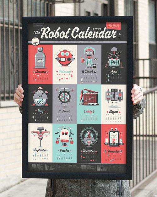 55 Hi's: 2013 Robot Calendar