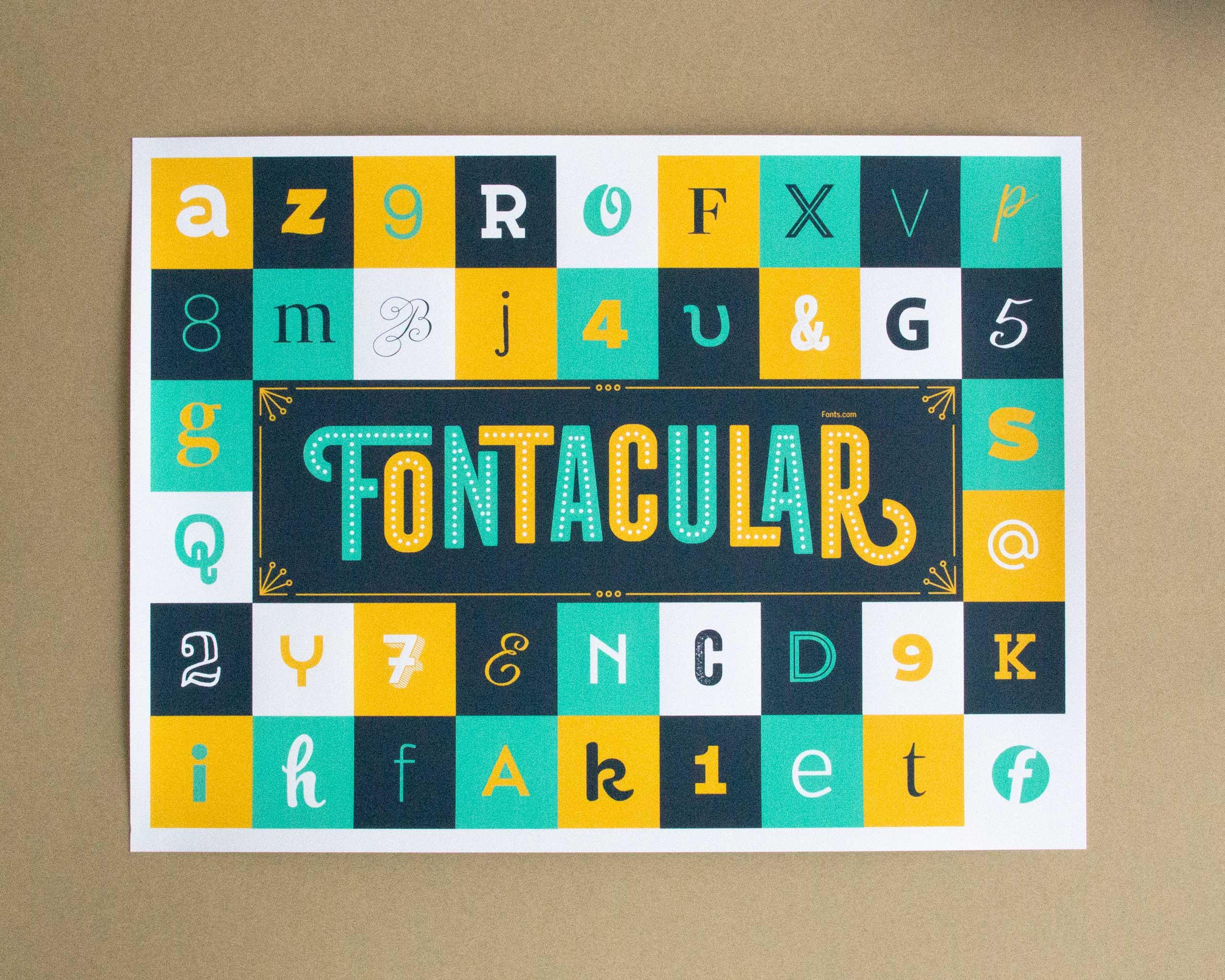 Fonts.com Fontacular screen printed poster