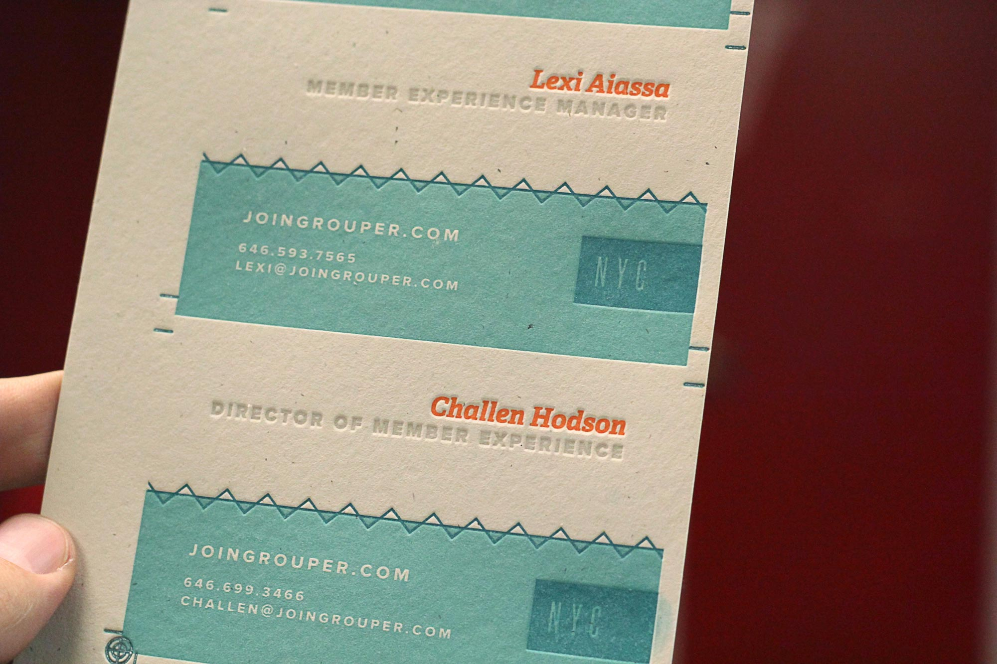 Grouper business cards by Mama's Sauce