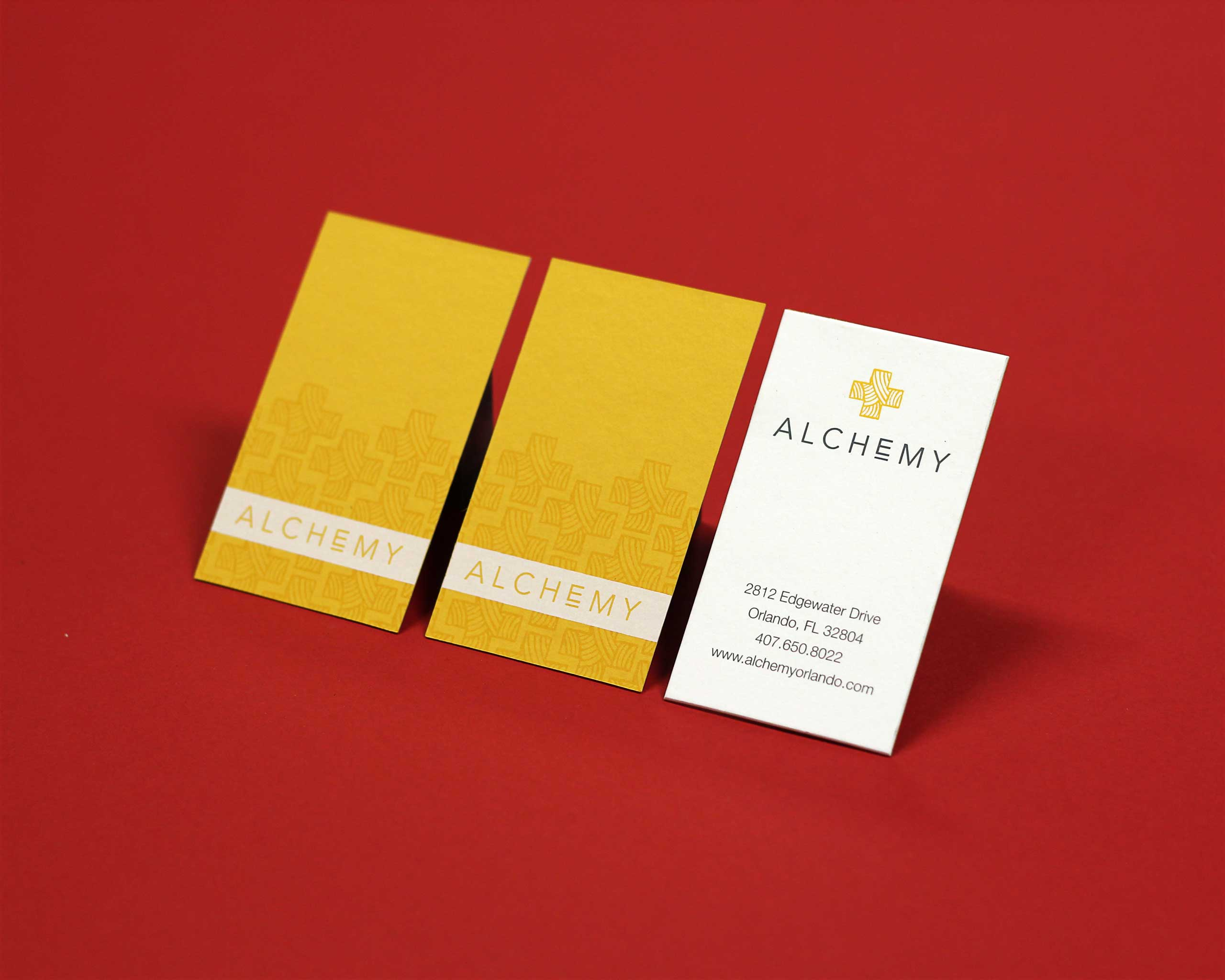 Alchemy screen printed business cards