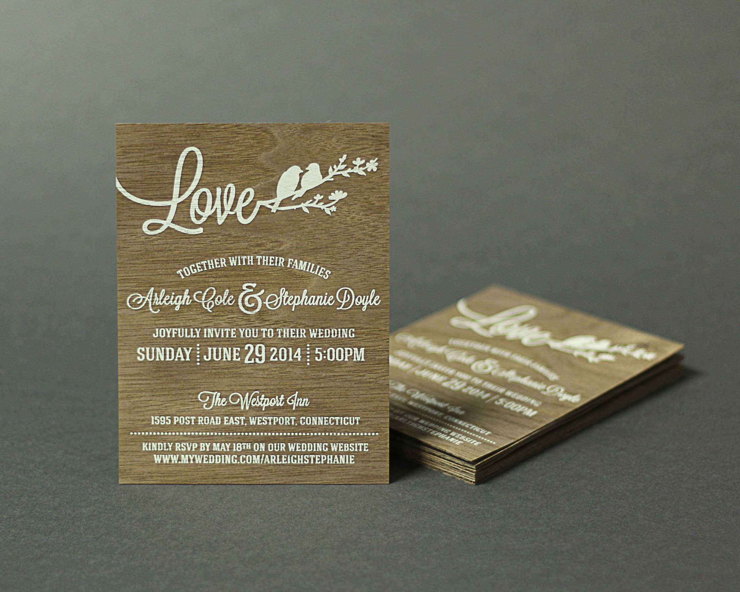 Arleigh Stephanie screen printed wedding invitation on wood