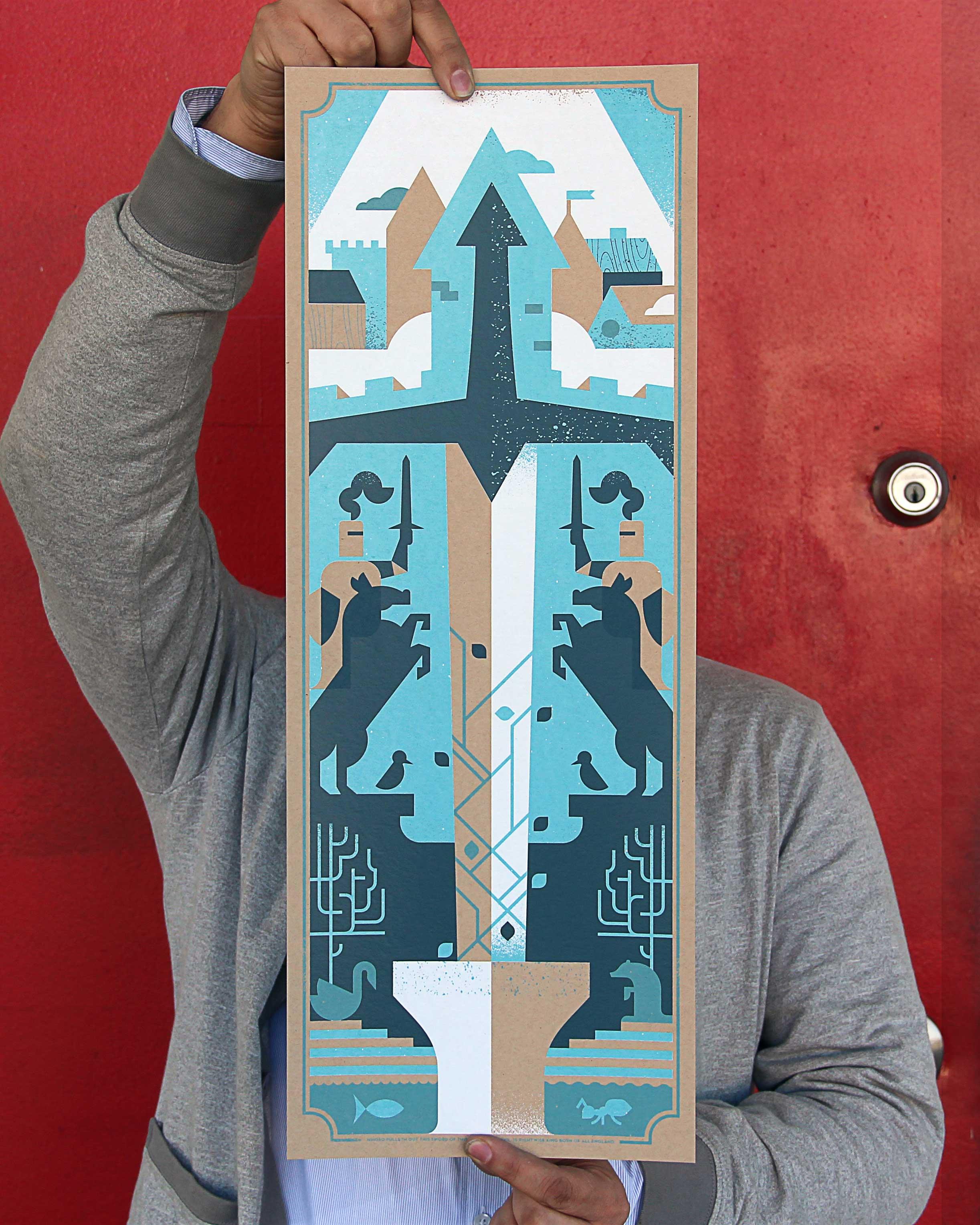 """Ryan Brinkerhoff screen printed """"Excalibur"""
