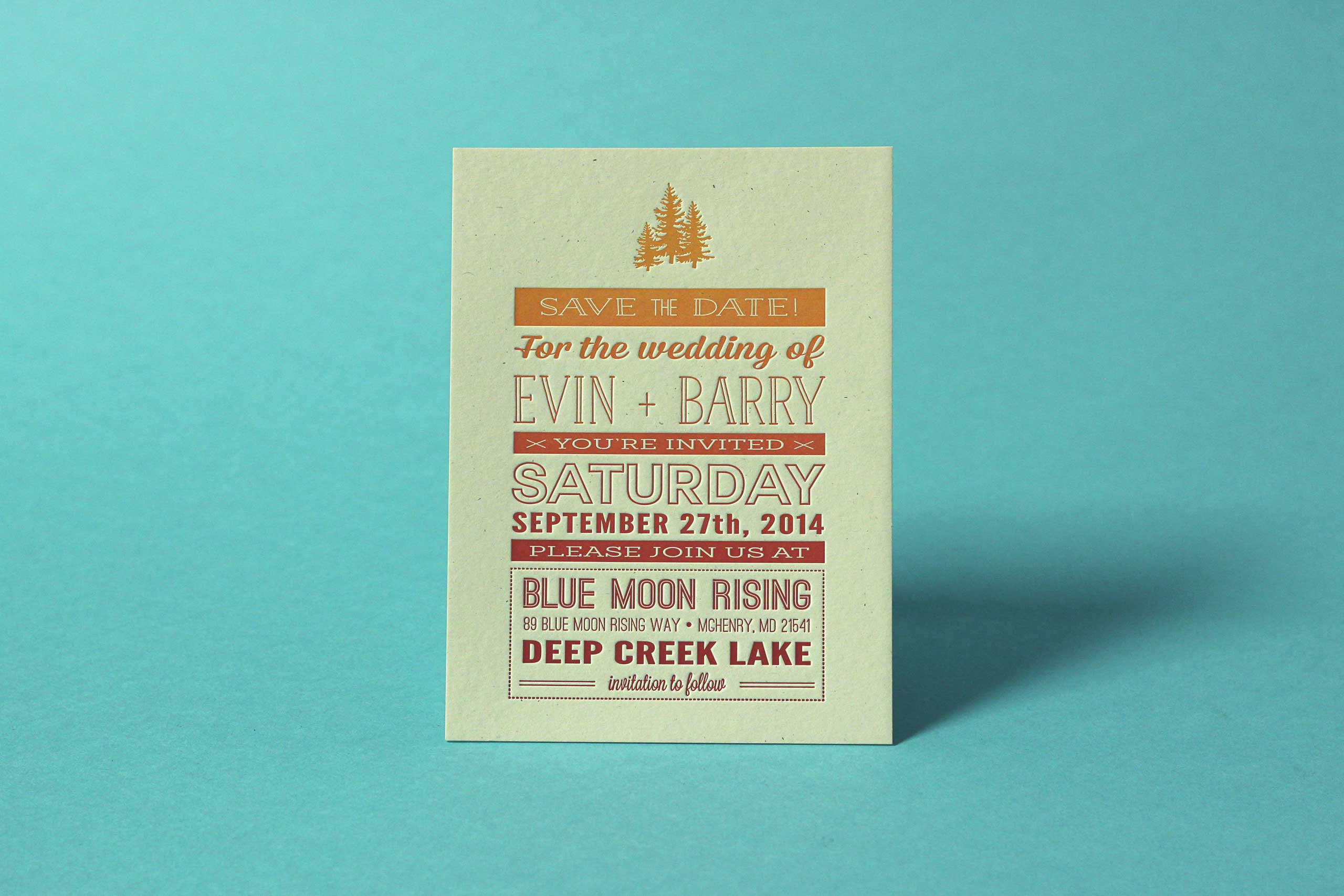 Evin Barry letterpress wedding invitation