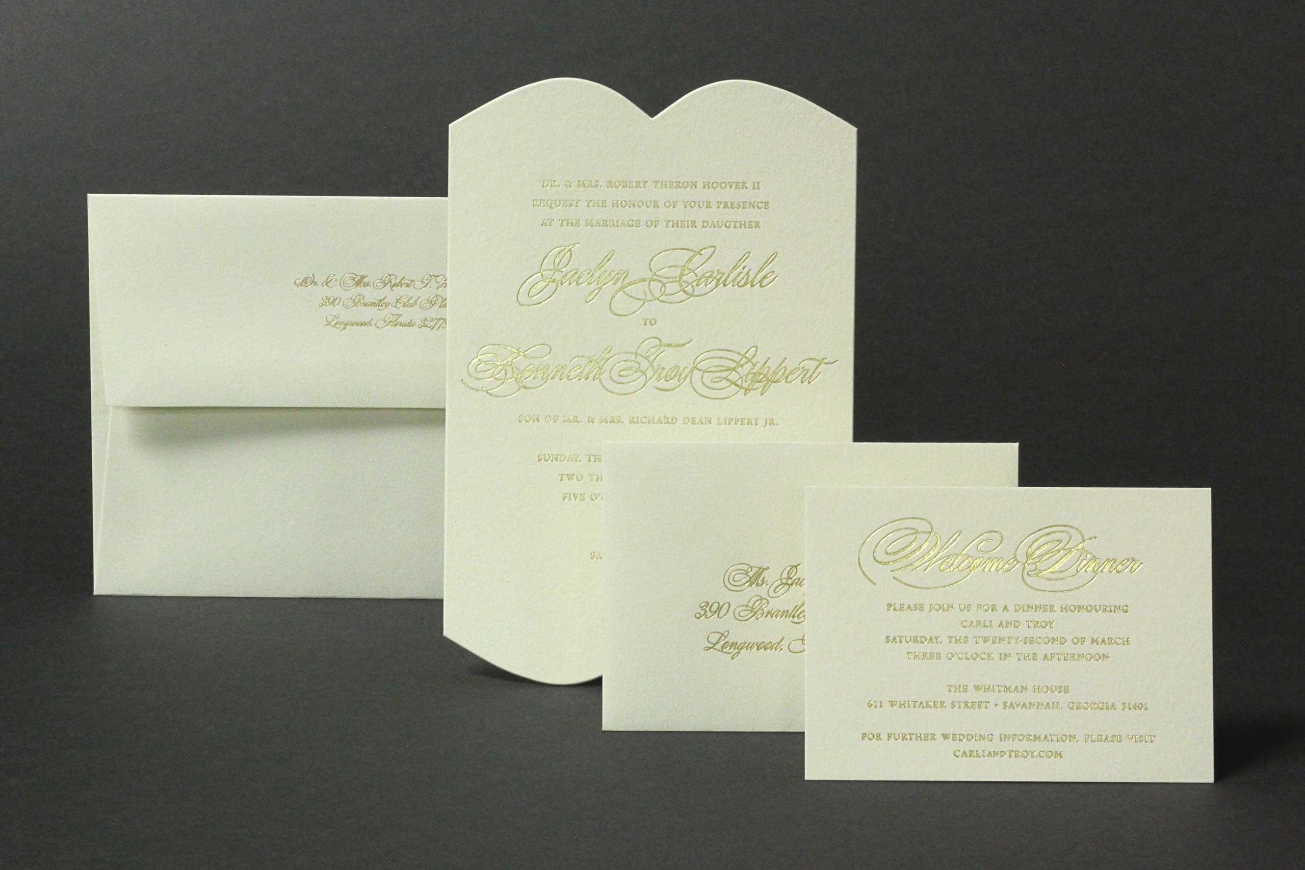 Hoover foil stamped wedding suite