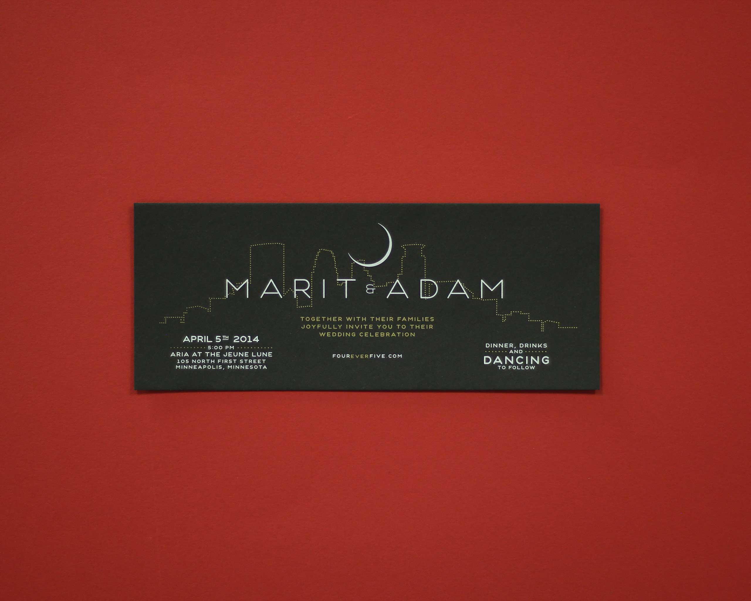 Paper Rock Scissor screen printed invite with metallic ink