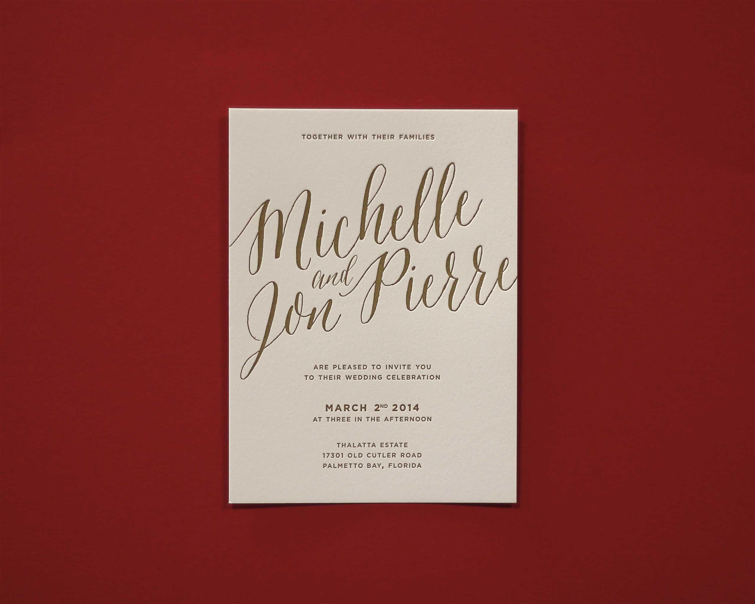 Michelle Ballesteros letterpress wedding invite