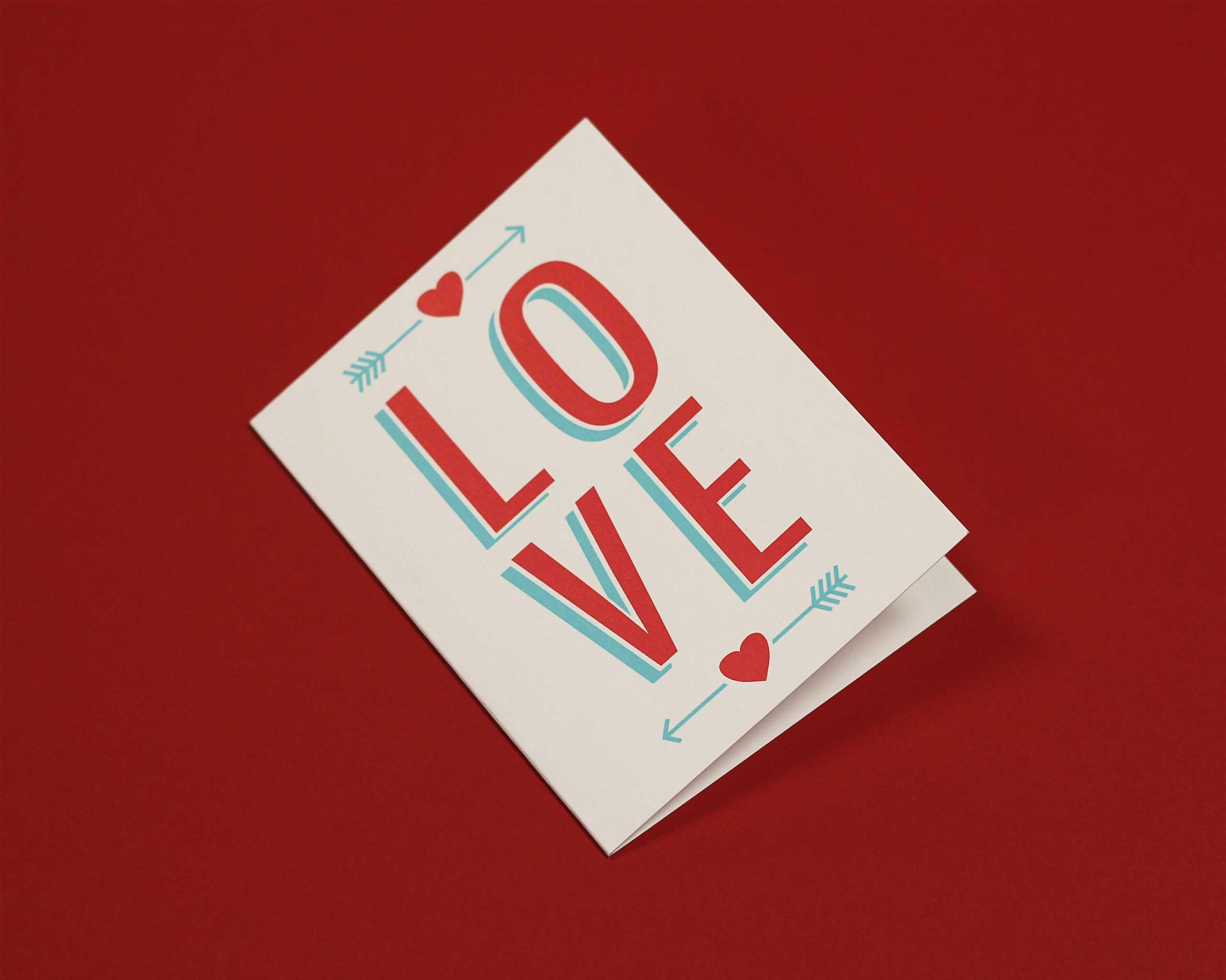 Paper Cub screen printed romantic greeting card