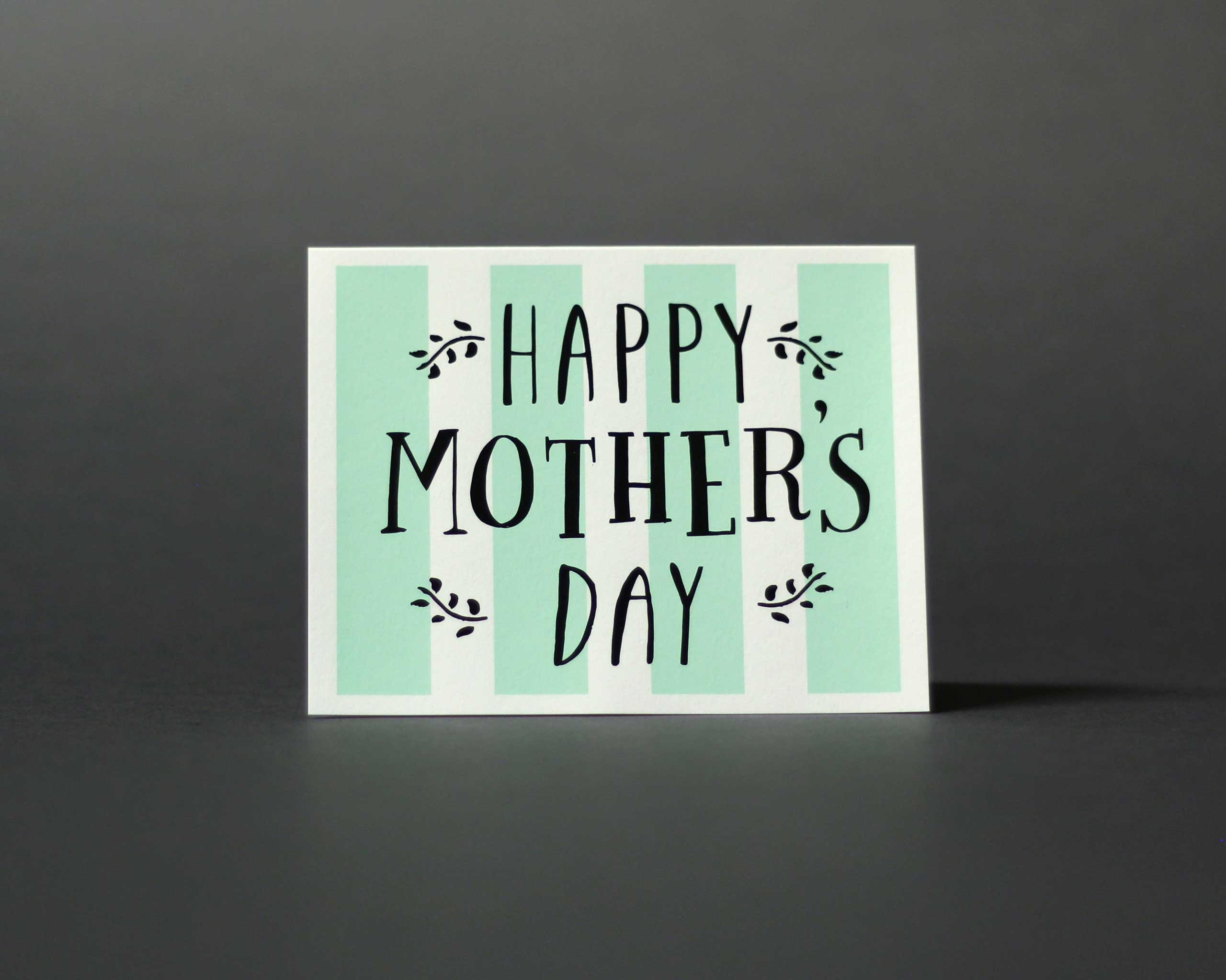 Paper Cub Mother's Day Stripes Seafoam