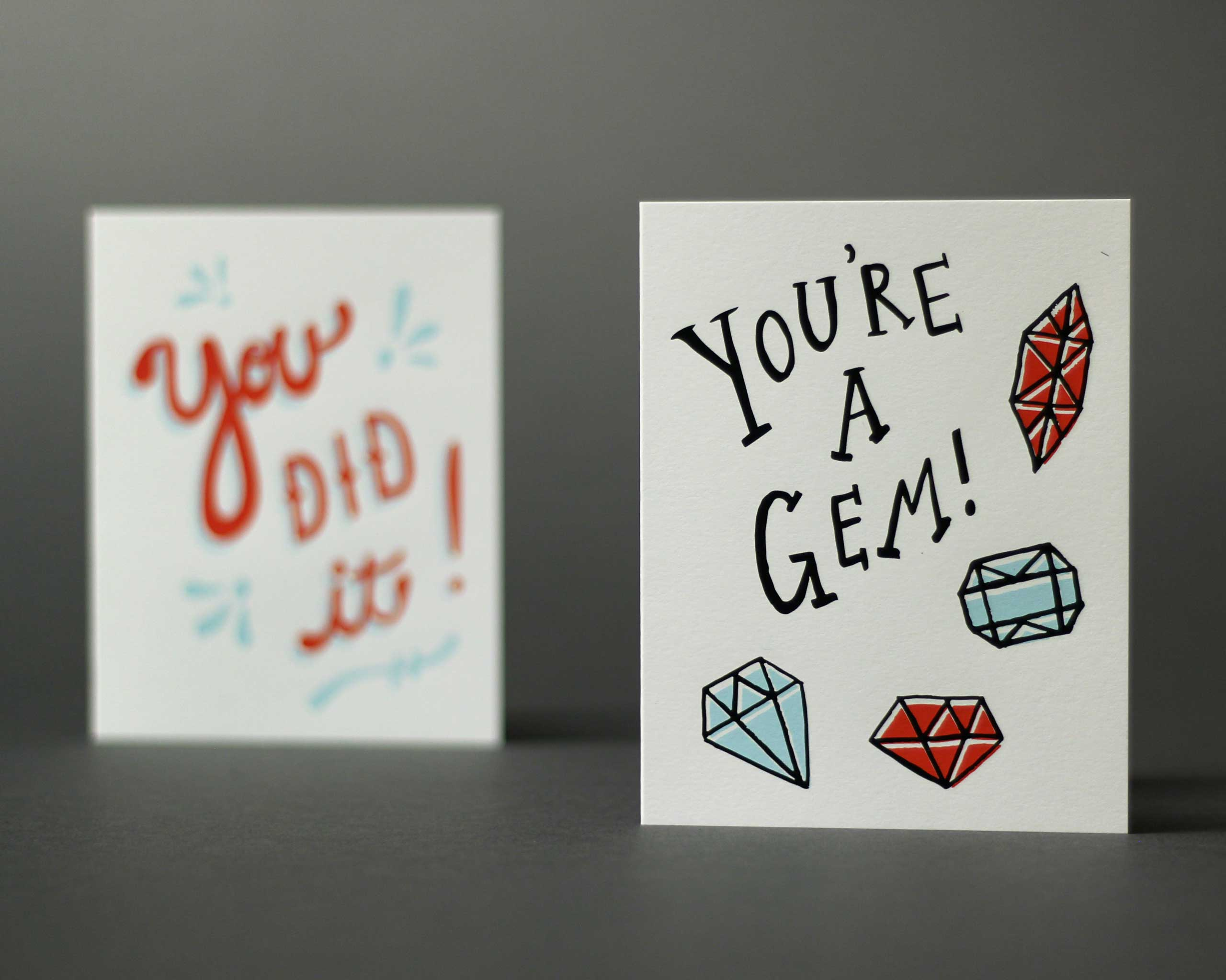 Greeting card by The Paper Cub. 2 color screen print on French Construction Pure White 100 lb. Cover.