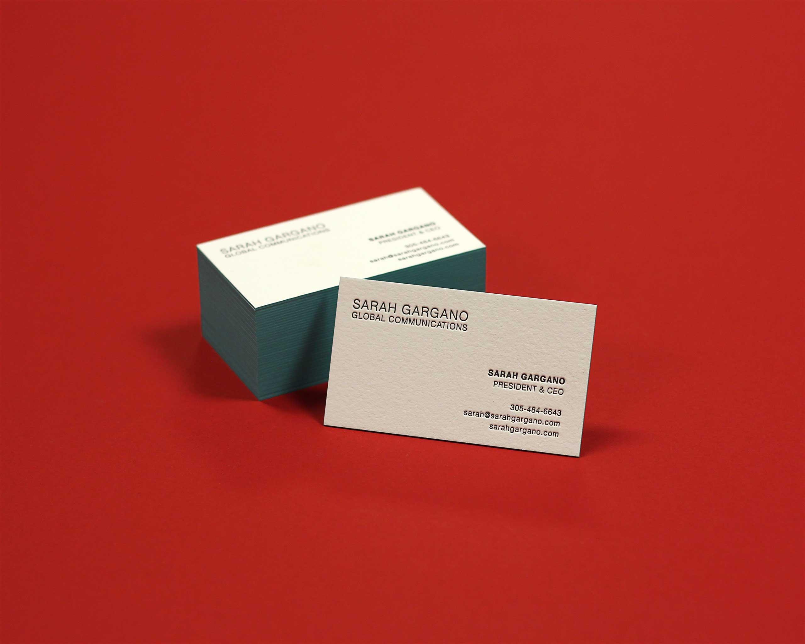 Sarah Gargano letterpress business cards