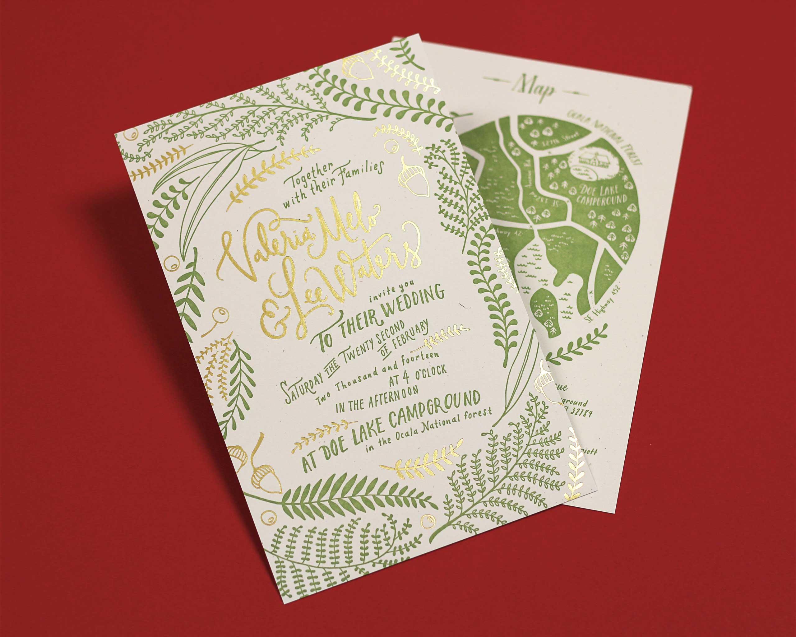 Val Melo letterpress & foil stamped wedding suite