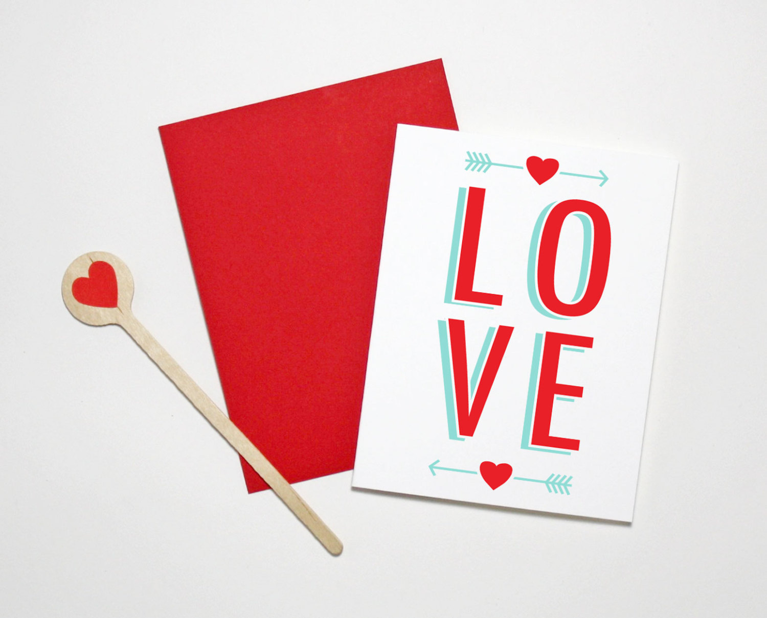 The Paper Cub screen printed Valentine's Day card