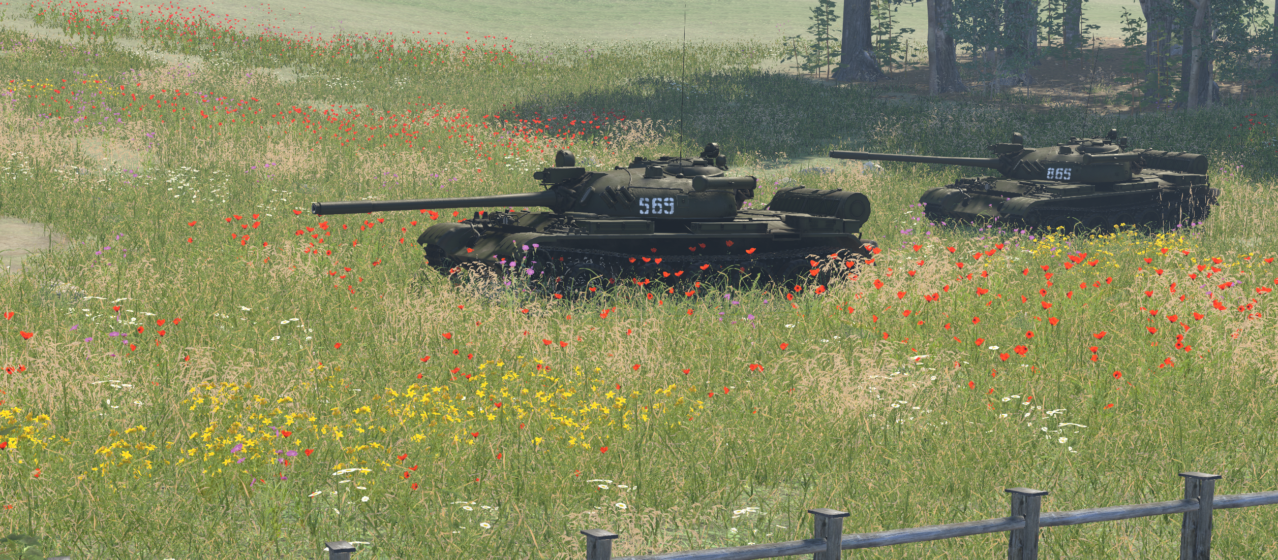 A pair of T-55As with unique tactical numbers