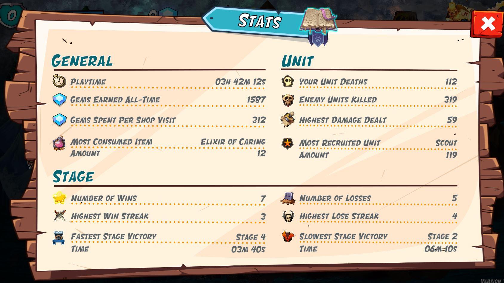 Tower Rush Stats menu