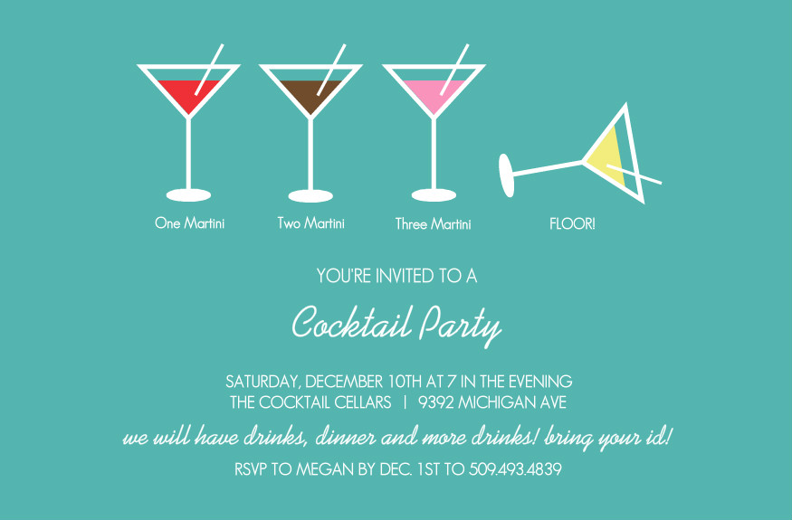 Bar party invitations martini cocktail party invitation for Cocktail party invite template