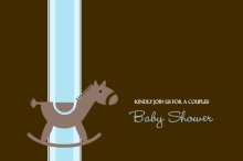 Blue and Brown Rocking Horse Boy Baby Shower Invitation