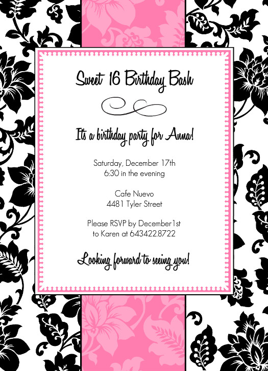 Black White And Pink Sweet 16 Birthday Party Invitation Free Printable