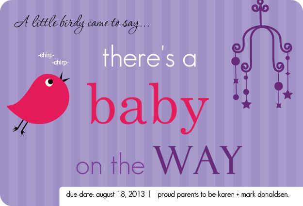 Little Birdie Purple Pregnancy Announcement Template
