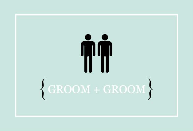 Gay Wedding Invitations: Blue Male Modern Icons Gay
