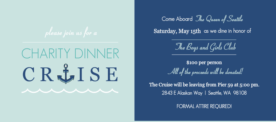 Cruise Wedding Invitation Wording Examples: Charity Fundraiser Invitations