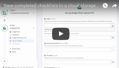 Export checklists to cloud